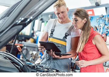 kunde, motor, codes, auto, ausstellung, mechaniker, fehler