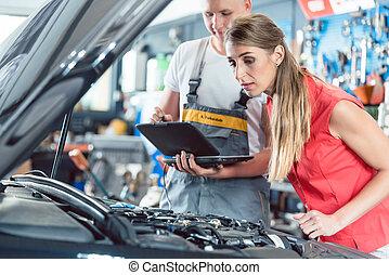 kunde, motor, scann, codes, auto, ausstellung, mechaniker, fehler