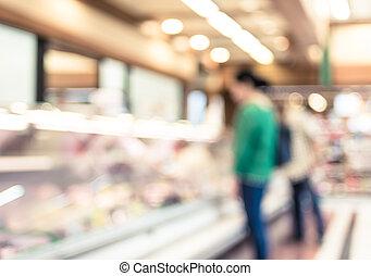 Kunde, PRODUKT, frau, Regal, Supermarkt, hintergrund, verwischen, frisch, auswahl