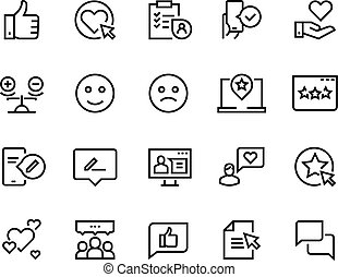 kunde, rückkopplung, service, positiv, kritik, icons.,...