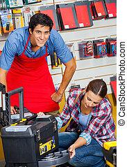 Kunde, reisekoffer, untersuchen, Werkzeug, Verkäufer, kaufmannsladen