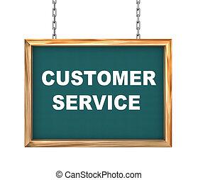 Kunde,  service,  -, hängender,  Banner,  3D