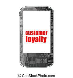Kunde,  smartphone,  Text, begriff, Loyalität, Freigestellt, werbung, weißes, Textanzeige