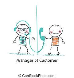 kunde, sprechende , manager, kopfhörer, klient