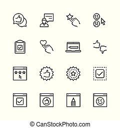 kunde, stil, satz, schlanke, zeugnisse, linie, ikone