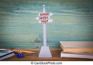 kunde, support., hölzern, wegweiser, hilfe, unterstuetzung, tisch, rat