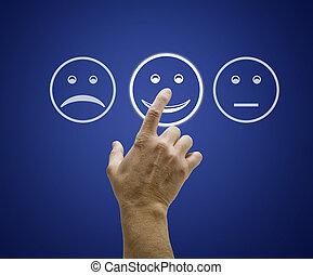 kunde tjeneste, skærm, form., hånd, røre, vurdering