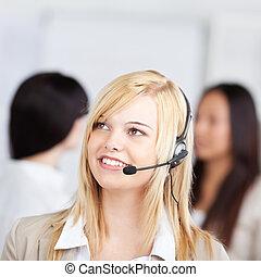Kunde, Tragen,  service, Buero, Kopfhörer, hintergrund, weibliche, nachdenklich, vertreter, Mitarbeiter