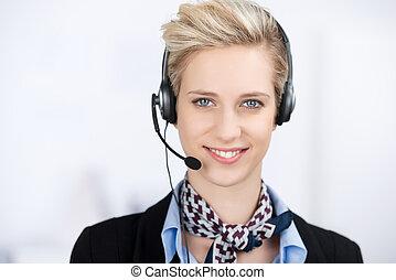 Kunde, Tragen,  service, Kopfhörer, Geschäftsführung, weibliche