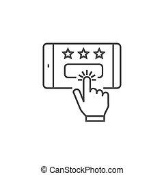 kunde, verwandt, besprechungen, vektor, dünne linie, icon.
