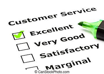 kunde, vurdering, tjeneste, form