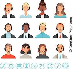 kunde, web, manager, zentrieren, service, bilder, operatoren, kontakt, vektor, rufen, weibliche , avatars., mann, hilfe