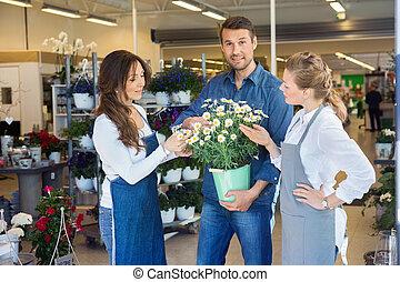 kunde, wesen, bedienergeführt, per, salesgirls, in, kaufen, blume, betriebe