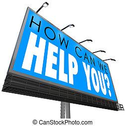 Kunde, wir, Hilfe,  service, unterstuetzung, wie,  att, buechse, Wörter, werbewand, Sie