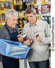 Kunde, Zange, Assistieren, verkäufer, Kaufen