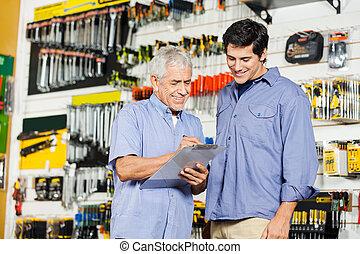 kunden, prüfung, prüfliste, in, baumarkt