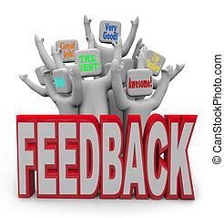 kunden, rückkopplung, leute, geben, positiv, zufrieden, erfreut