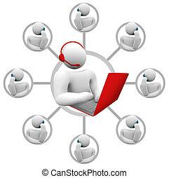 kundendienst, -, netowrk, von, bediener, und, callers