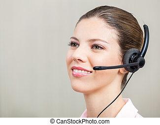 kundendienstvertreter, tragen, kopfhörer