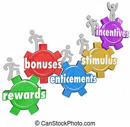 kunder, belönar, arbetare, motivationer, bonuses, klättrande...