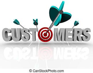 kunder, hit, måltavla, -, pilar, ord