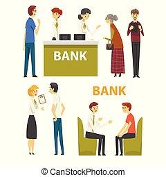 kunder, konsultera, hos, direktören, hos, bank, kontor, bankrörelse, service, vektor, illustration