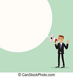 kundgørelse, forarbejde, tale, forretningsmand, megafon, boble