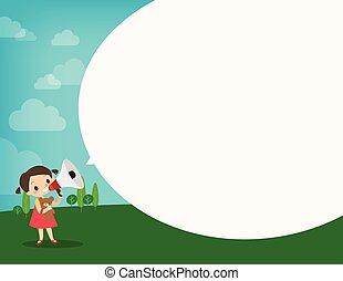 kundgørelse, liden, forarbejde, illustration, tale, pige, megafon, boble, cartoon