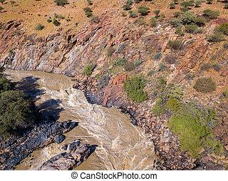 kunene, epupa, fällt, fluß, namibia, luftaufnahmen