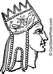 kung, armenien, engraving., tigranes, årgång