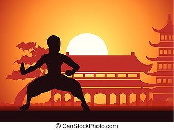 kung, boxing, chinees, fu