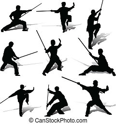 kung-fu, beállít, noha, övé, bot