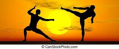 kung-fu, door, ondergaande zon , -, 3d, render