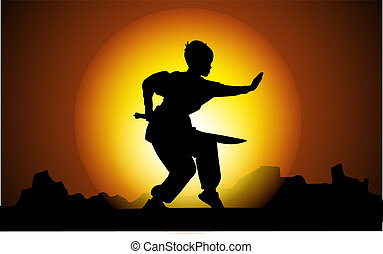 Kung Fu in sunset