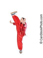 kung fu, leány, magas, megrúg