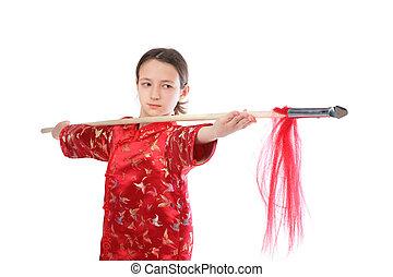 kung fu, m�dchen, mit, speer