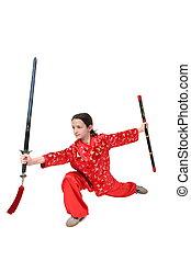 kung fu, m�dchen, schwert, übung