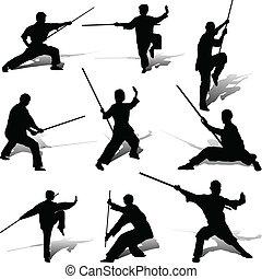 kung-fu, maniertjes, met, zijn, personeel