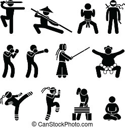 A set of pictogram representing martial art from many categories.