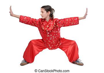 kung fu, meisje, laag, houding