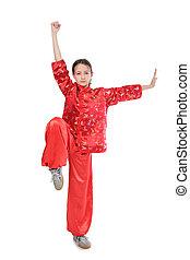 kung fu, niña, alto, postura