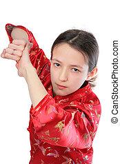 kung fu, niña, golpe