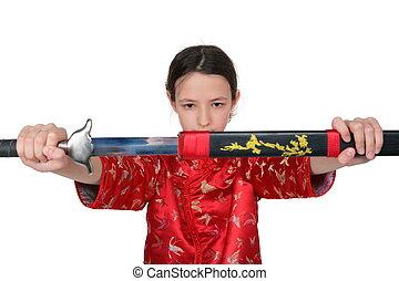 kung fu, niña, toma, afuera, espada
