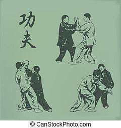 Kung fu - vintage illustration of men involved in kung fu
