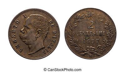 kung, umberto, jag, kungarike, av, italien, 2, cent, lire, koppar, mynt, 1897