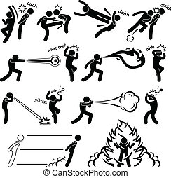 Kungfu Fighter Super Power People - A set of stick figure...