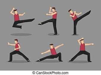 kungfu, vettore, carattere, cinese, illustrazione