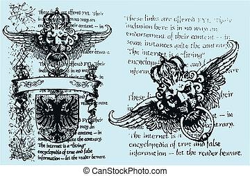 kunglig, heraldisk, emblem, lejon