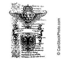 kunglig, heraldisk, emblem