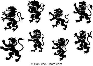 kunglig, heraldisk, svart, lejonen